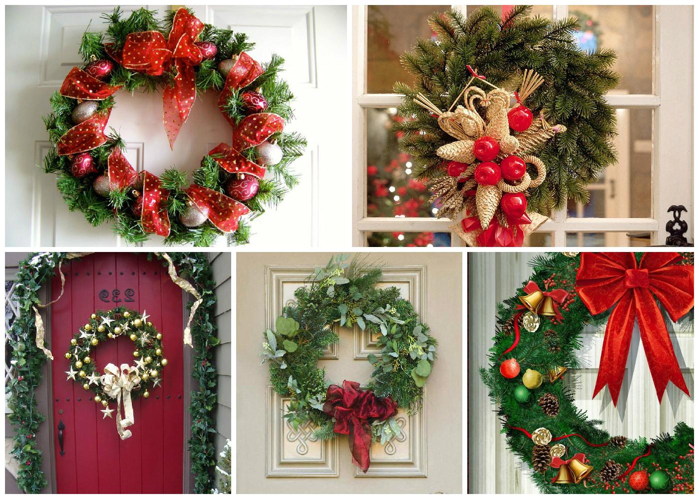 Венки на дверь на новый год