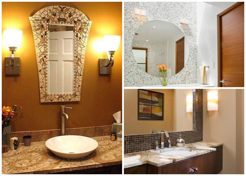 Мозаичное зеркало в ванную